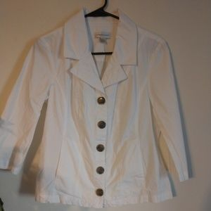 Christopher & Banks, White Fitted Shirt, Size S